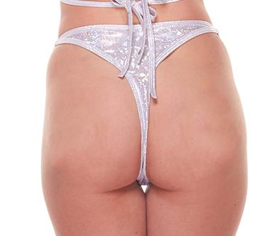 Silver Holographic Side Ring Thong