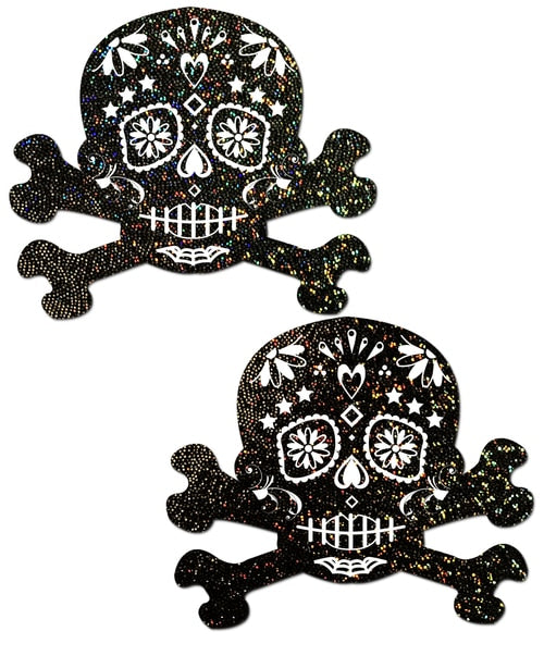 Black Glitter Candy Skull & Crossbones Nipple Pasties