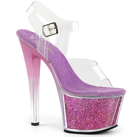 "7""  Platform Ankle Strap Sandal w/ Tinted Heel Featuring Glitter Inserts in the Platform Bottom"