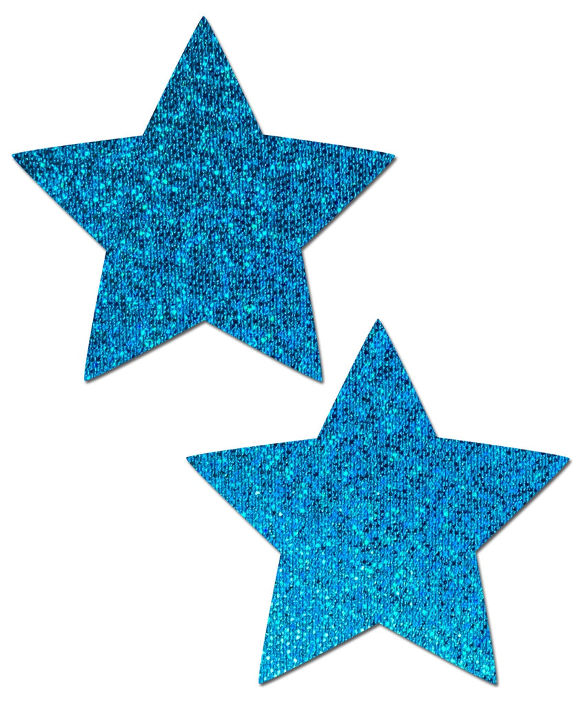 Star Turquoise Glitter Star Nipple Pasties