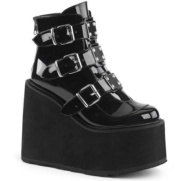 "5 1/2"" Platform Ankle Boot Featuring Triple Buckle Straps w/ Silver Chrome Plated Metal Plates at Center, Back Metal Zip Closure"