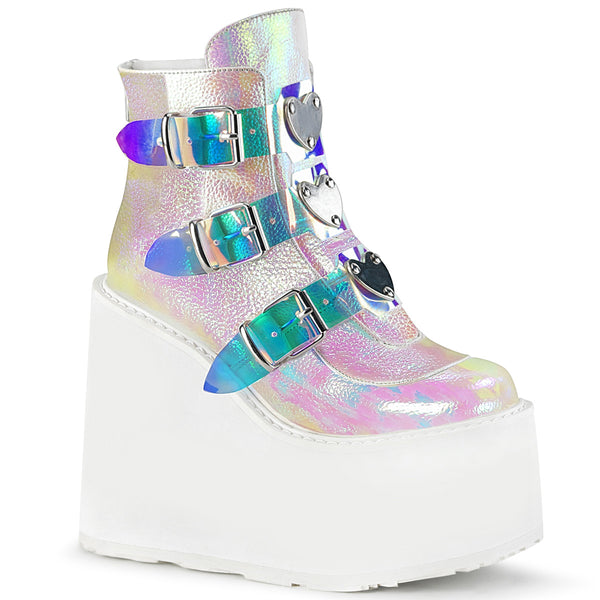 "5 1/2"" Platform Pearl Iridescent Ankle Boot Featuring Triple Buckle Straps w/ Silver Chrome Plated Metal Plates at Center, Back Metal Zip Closure"