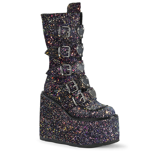 "5 1/2"" Black Glitter Platform Mid-Calf Boot Featuring 5 Buckle Straps"