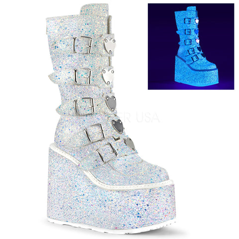 "5 1/2"" White Multi Glitter Platform Mid-Calf Boot Featuring 5 Buckle Straps"