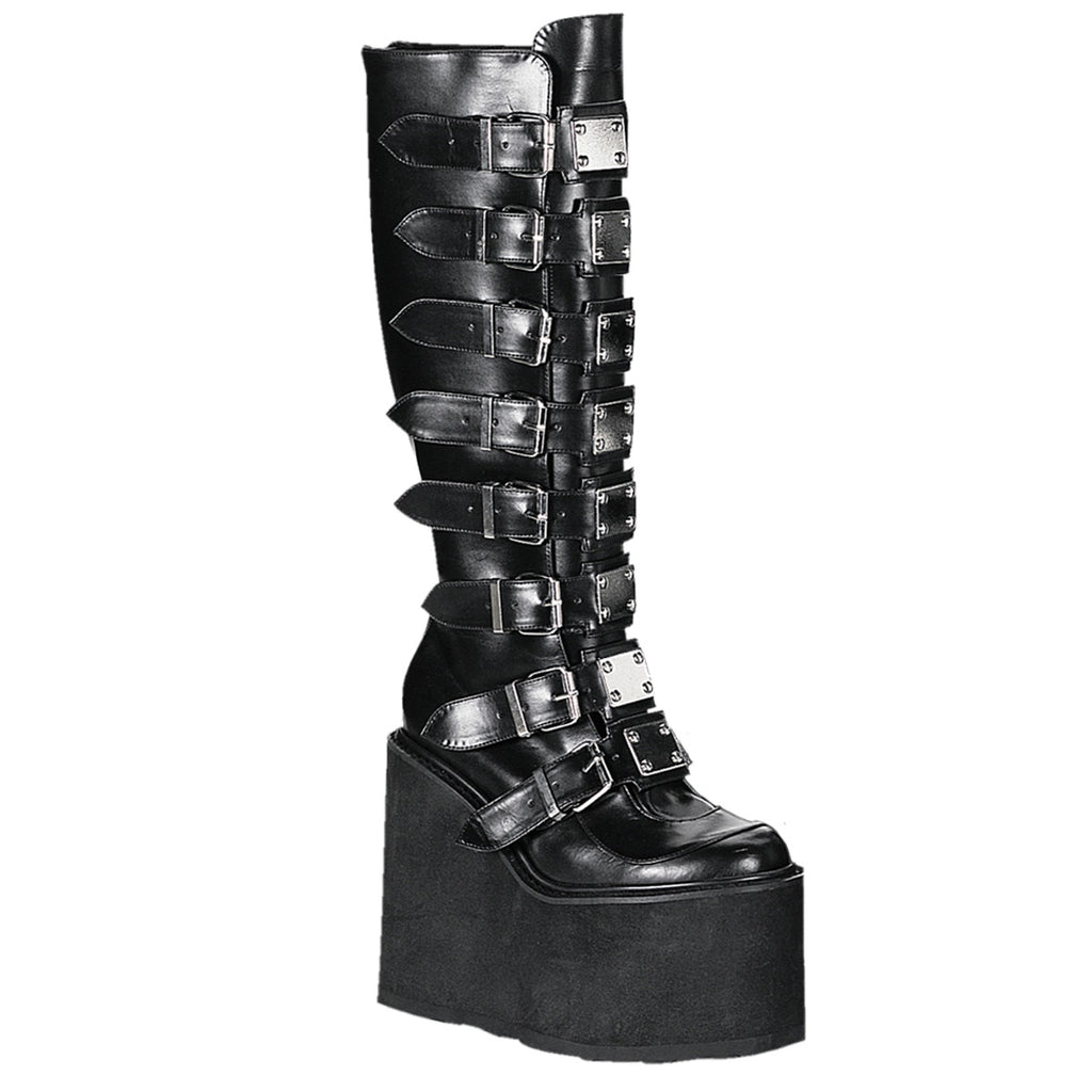 "5 1/2""  Wedge Leather Platform Goth Punk Gogo Knee Boot with Metal Plates, Full Back Zipper"