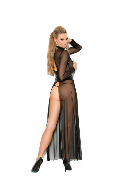 Mesh and Vinyl Long Sleeve Gown