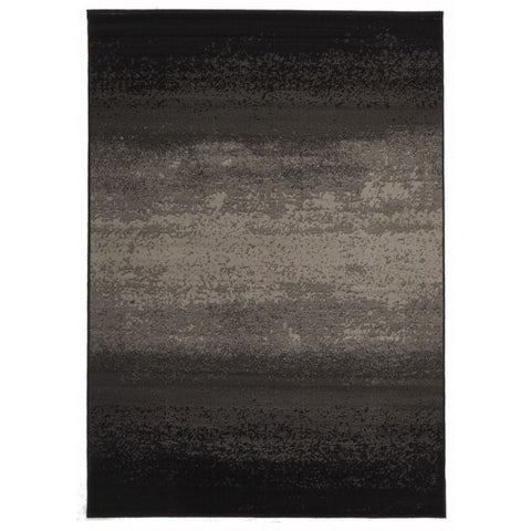 Abstract Modern Black Grey Rectangular Floor Rug
