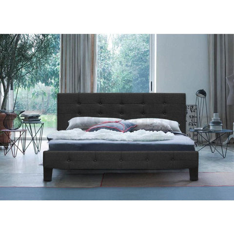 Henrik Queen Size Upholstered Bed Frame Charcoal