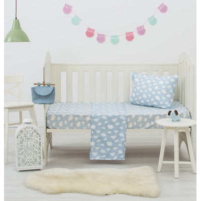 Blue Clouds Dreamaker Baby Poly/Cotton Cloud Printed Cot Sheet Set