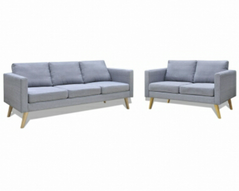 Light Grey Fabric Sofas 2 Seater and 3 Seater