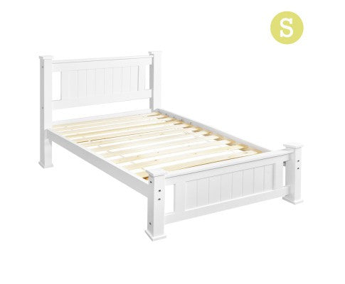 Wooden Bed Frame Pine Wood Single White