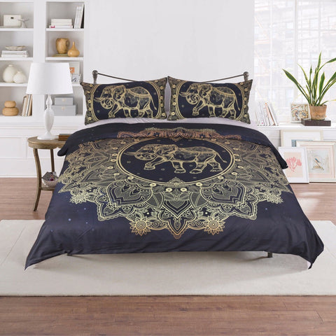 Bohemian Mandala Flowers and Elephant 3PCS Quilt Cover Set