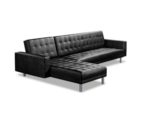 Black 5 Seater PU Leather Sofa Bed