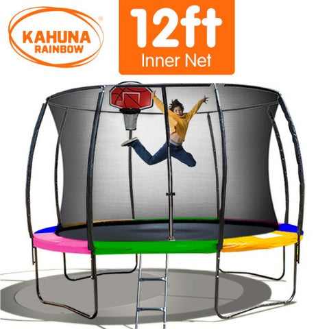 Kahuna 12 ft Trampoline with Rainbow Safety Pad