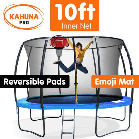 Kahuna Pro 10 ft Trampoline with Emoji Mat & Reversible Pad