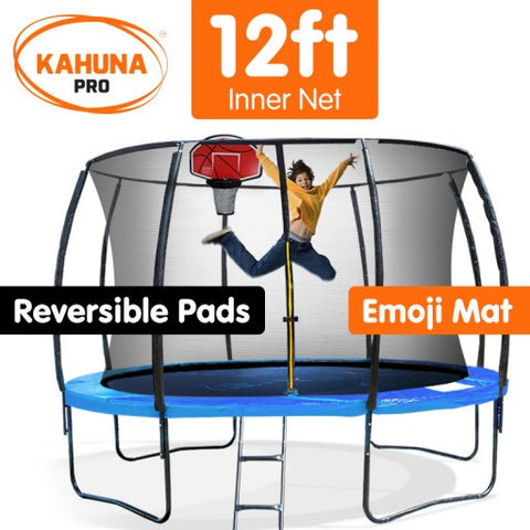Kahuna Pro 12 ft Trampoline with Emoji Mat and Reversible Pad