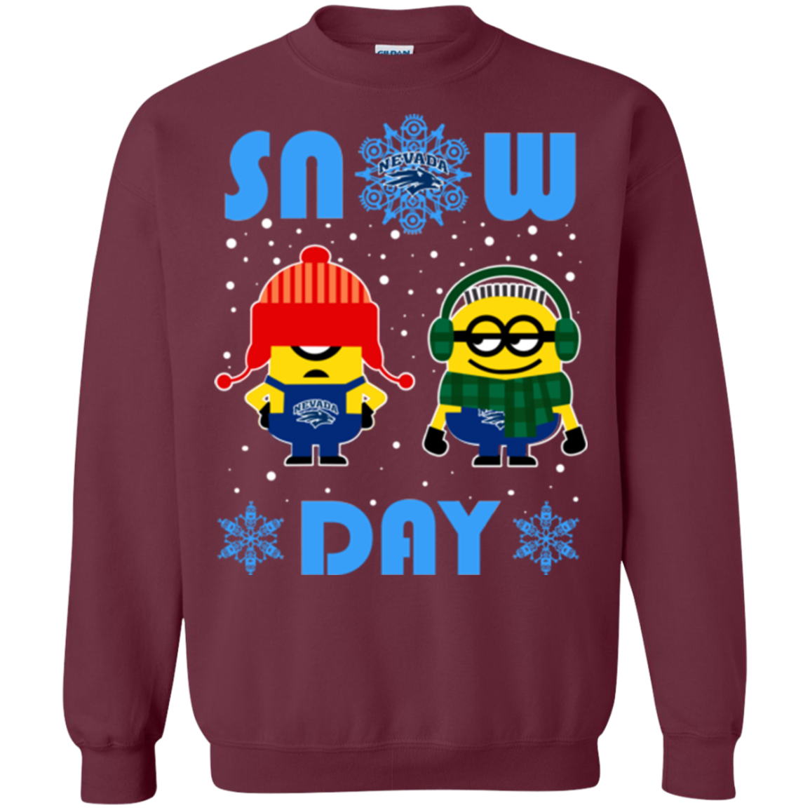 Nevada Wolf Pack Minion Ugly Christmas Sweaters Snow Day Snowflake ...