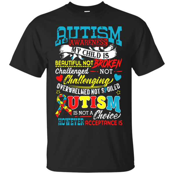 Autism Awareness T-shirts My Child Is Beautiful Challenged Overwhelmed Shirts Hoodies Sweatshirts