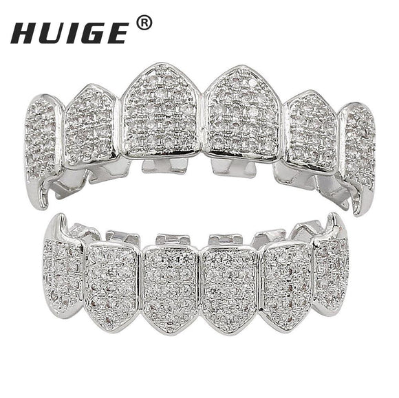 Hip Hop Fang Teeth Grillz Set Gold Color Micro Pave Cubic Zircon Top & Bottom GRILLZ Mouth Teeth Grills Sets
