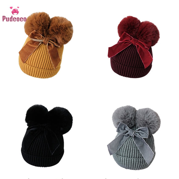 Children Infant Beanie Cap Bonnet Casquette Enfant Baby Stuff Double Pompom Hat Winter Knitted Kids Baby Girl Hat Warm Thicker