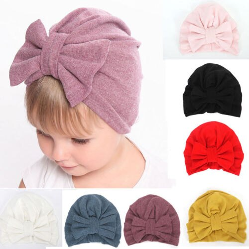 Newborn Baby Infant Girl Floral Comfy Bowknot Turban Hospital Cap Cotton Beanie Hat Gifts Wholesale