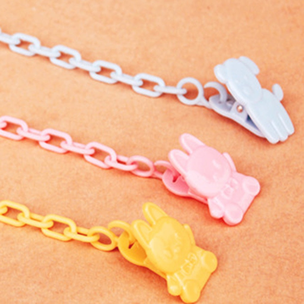 5PCs Mixed Baby Pacifier Clips Owl Pattern Printed White Wood Metal Holders