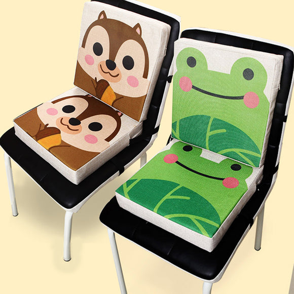 Baby printed linen children's dining chair Children's heightening pad Children's piano cushion Baby portable seat cushion