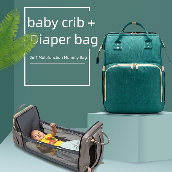 2in1 Multifunctional Diaper Bag Backpack Travel Portable Large Capacity Shoulder Mommy Folding Crib Bags Waterproof Stylish Pack