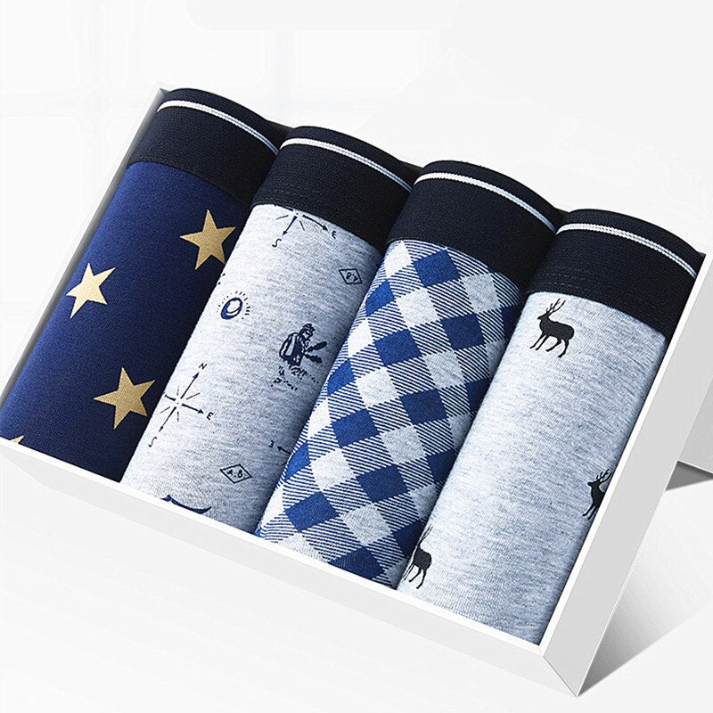 Underwear Man 4pcs/lot Brand Luxury Men Boxer Underwear Cotton Boxer Homme Sexy Health Cueca pull in Breathable Family Panties