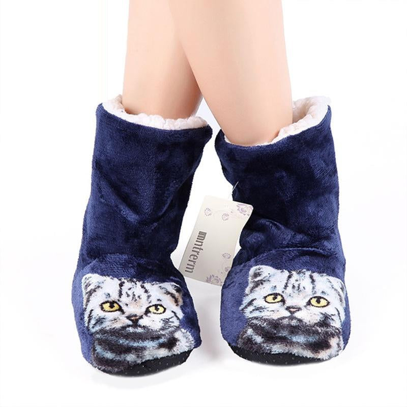 Cat sock shoes woman Winter Soft Fur home slippers women Keep warm Non slip House women slippers Cute Animal Hot sale