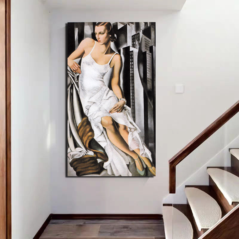 Tamara de Lempicka Woman In White Dress Canvas Painting Print Living Room Home Decor Artwork Modern Wall Art Oil Painting Poster