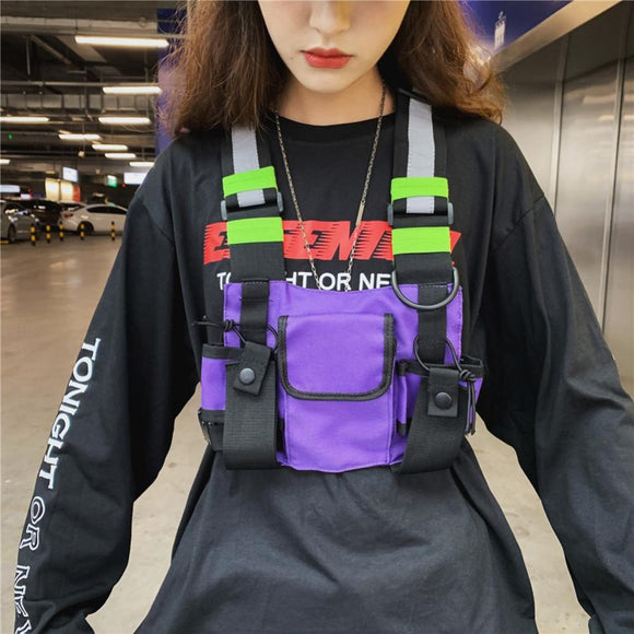 Men Women Fashion Chest Rig Bag Reflective Vest Streetwear Functional Harness Chest Bag Pack Front Waist Pouch Backpack