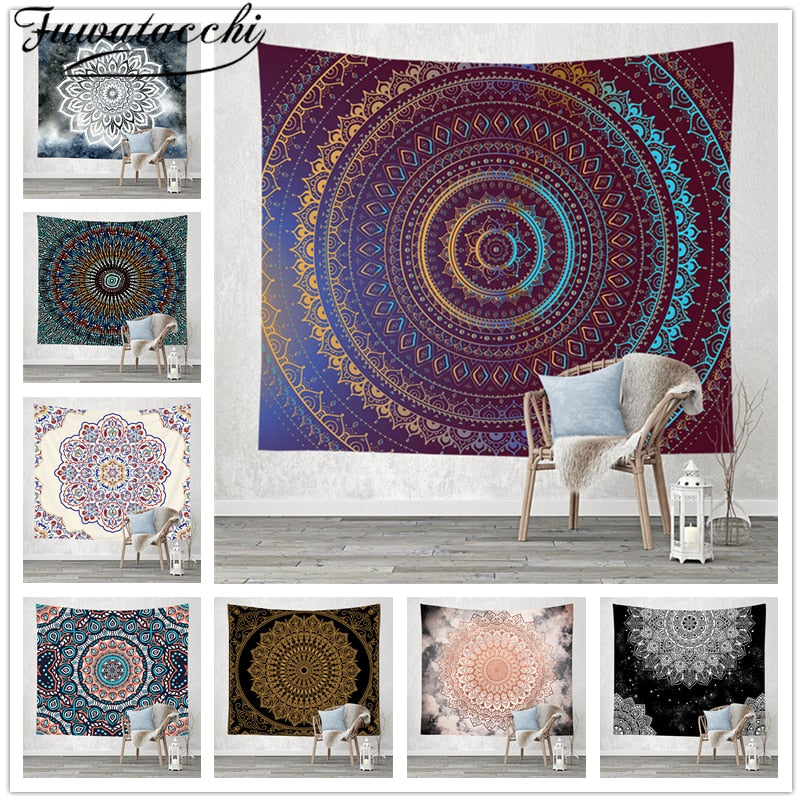 Fuwatacchi Mandala Tapestry Wall Hanging Sandy Beach Throw Rug Blanket Camping Travel Mattress Bohemian Sleeping Pad Tapestries