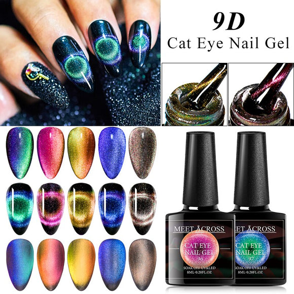 9D Cat Eye Gel Polish Magnetic Gel Nail Art Design Manicure Soak Off UV Gel Magnet Nail Polish Lacquer Varnish Black Base Need