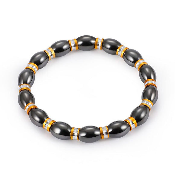 Black Stone Magnetic Therapy  Bracelet Health Care Magnetic Hematite Stretch Delicate Distance Bracelets for Men Women
