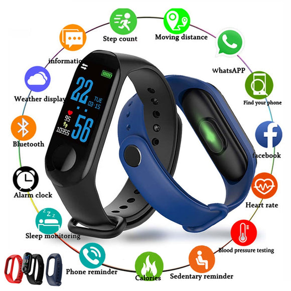 2020 Fitness Bracelet Heart Rate Blood Pressure Health Waterproof Men Smart Bracelet Bluetooth Watch Wristband For Android IOS