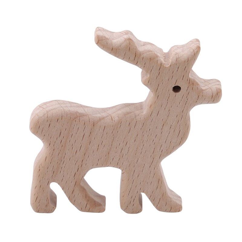 Handmade Animal Shape Baby Wood Color Natural Wooden Teething Toy Shower Gift SM