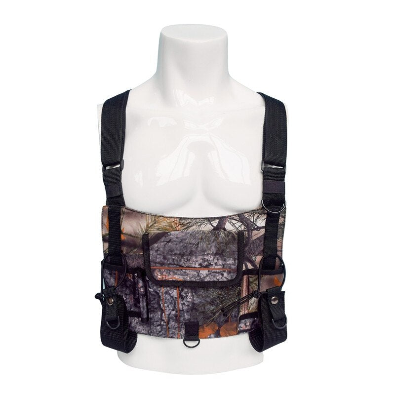 Tactical Camouflage Shoulder Bag Training Bag Radio Vest Chest Rig Harness Front Pack Pouch Holster Vest Rig Walkie Talkie