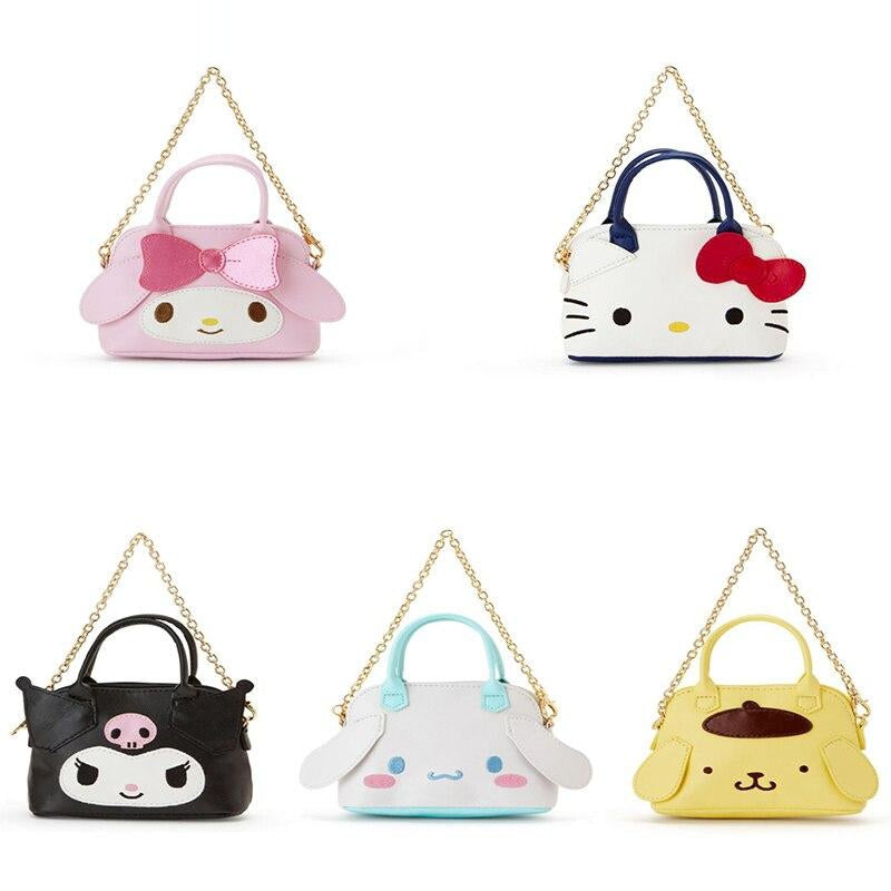 Cute My Melody Kuromi Cinnamoroll Small Tote Bag Girls Mini Chain Bag PU Leather Coin Purse Wallet Handbag Key Holder Organizer