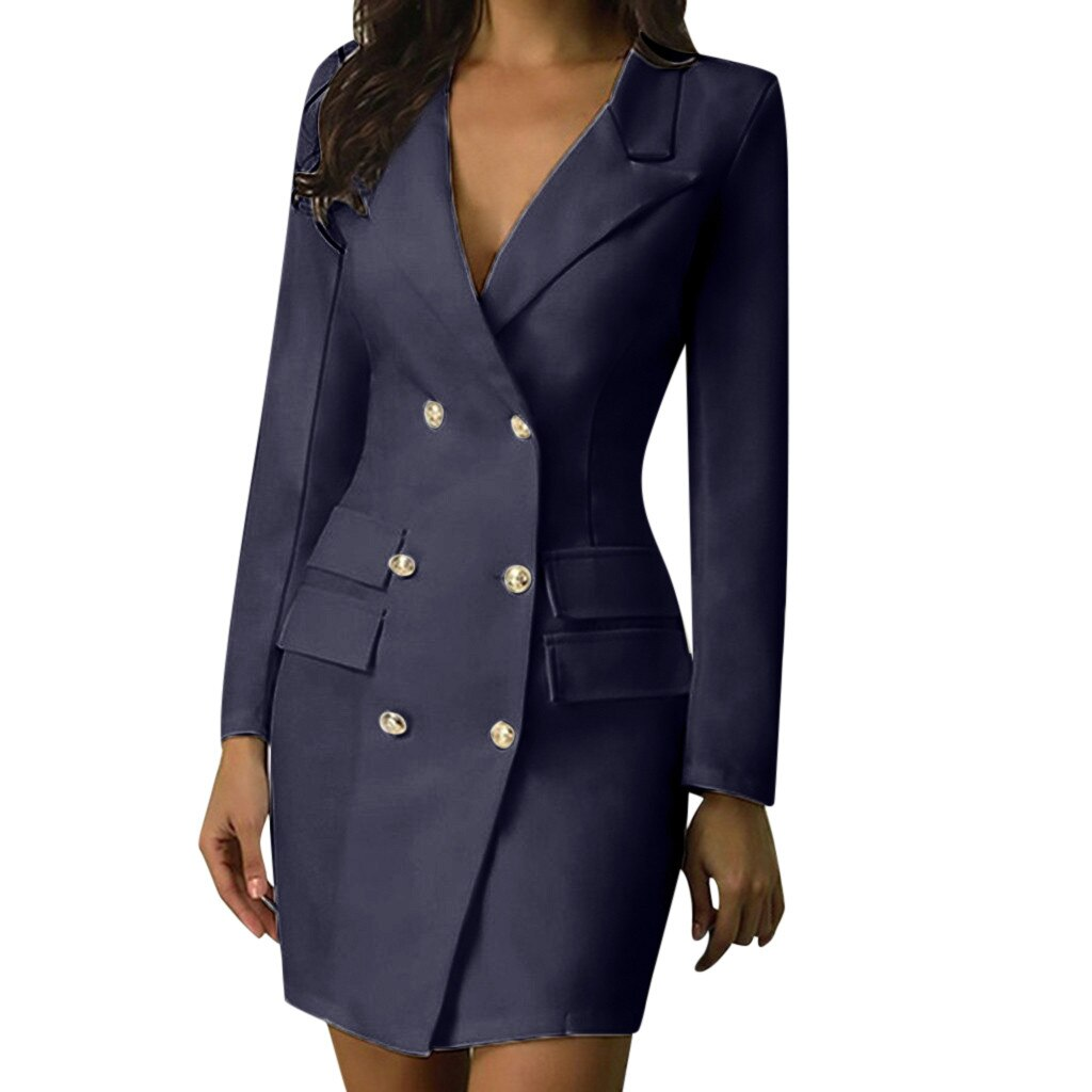 Woman Elegant Mini Dress Professional Double-breasted Blazer Style Slim Fit Dress Female Sexy Long Sleeve Mini Dres #YJ2