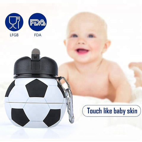 Sports Water Bottle With Straw Silicone Novelty Football Design Travel Accessory