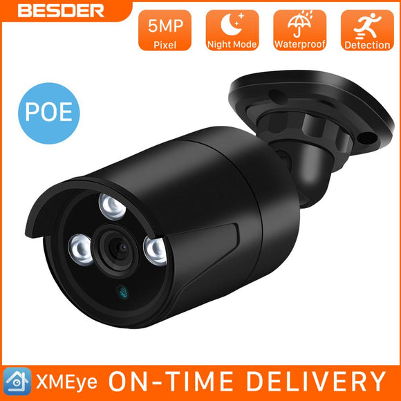 BESDER Waterproof Super HD 5MP PoE CCTV IP Outdoors Indoors Camera Wired Security Camera Motion Detection Onvif App XMEye