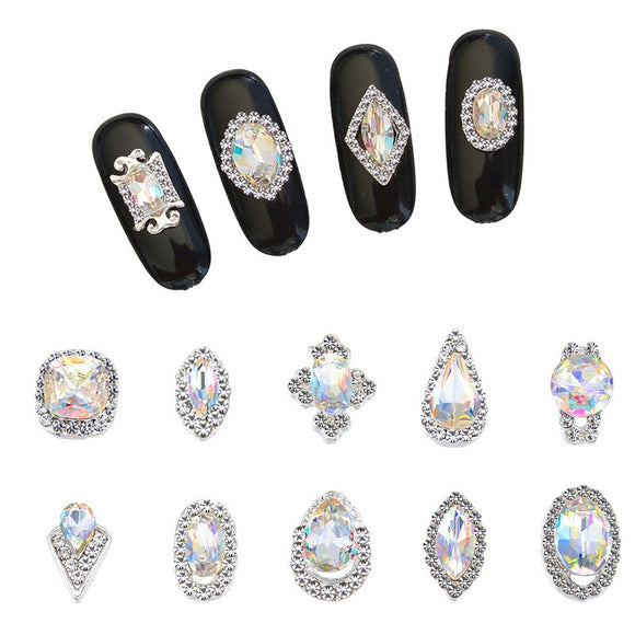 CHNRMJL 20Designs/Pack Alloy zircon Nail Rhinestone Cristal AB Gems Studs 3D Charm DIY UV Gel Nails Polish Art Decorations