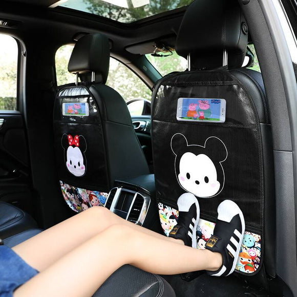 PU Leather Car Seat Back Cover Protector for Kids Children Baby Cute Cartoon Waterproof Touch Screen Anti-kick Mat Storage Bag
