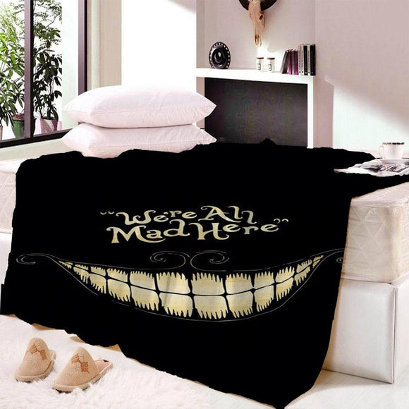 Anime Alice in Wonderland Blanket Mat Smile Cat We're All Mad Here Cartoon Soft Wall Bedspread Beach Mat Blanket Table Towel