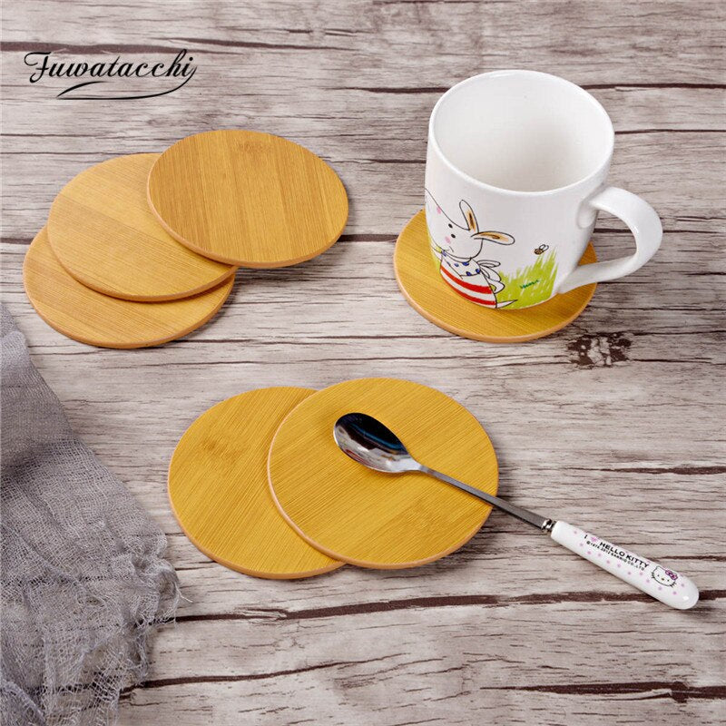 Fuwatacchi 6PCS Leather Marble Coaster Drink Coffee Cup Mat Tea Pad Dining Table Placemats Table Black White Chic Decoration