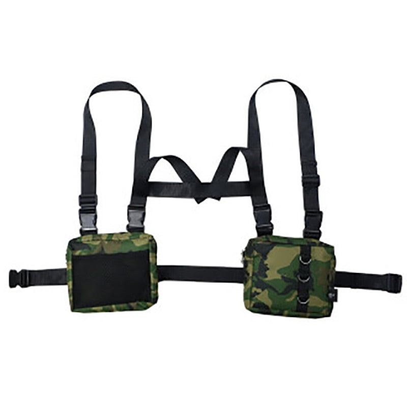 Plegie FashionTactical Harness Chest Rig Bag Unisex Hip-Hop Oxford Two Pockets Fanny Pack Tactical Functional Vest Bag