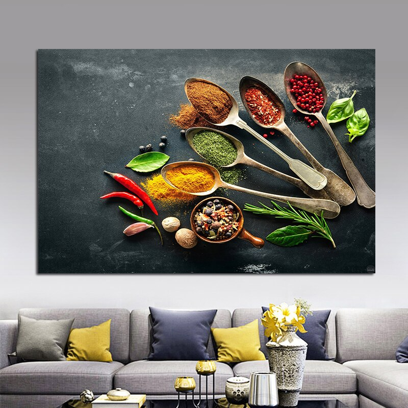 OUCAG Colorful Kitchen Spoon Spices Oil Painting Modern Unframed Posters And Prints Canvas Wall Pictures Decor For Dining Room