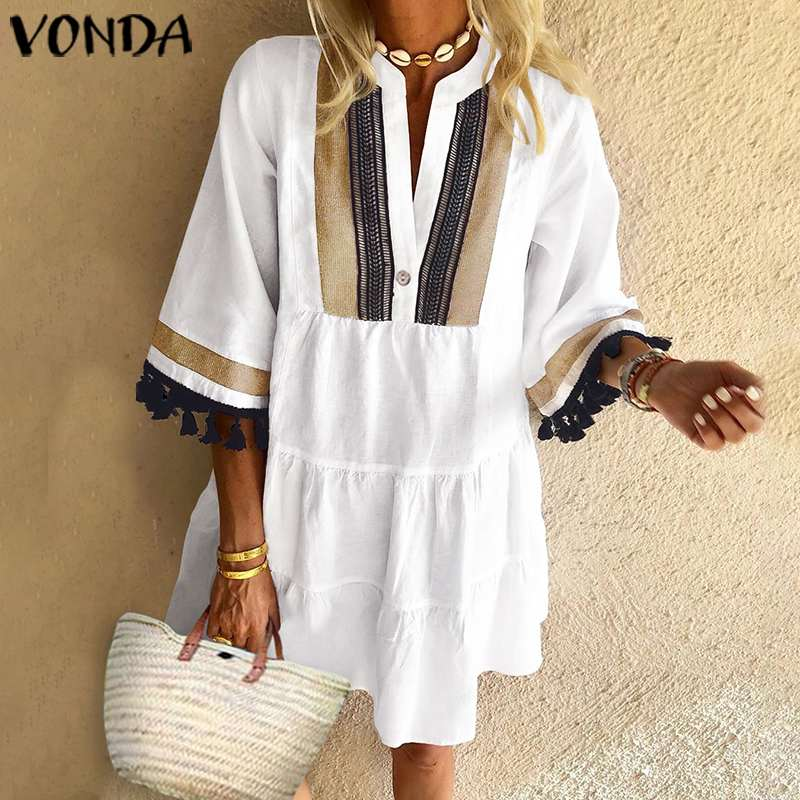 Summer Dress VONDA 2020 Woman Vintage Printed Half Sleeve V Neck Party Dresses Loose Mini Dresses Bohemian Vestidos Femme Robe