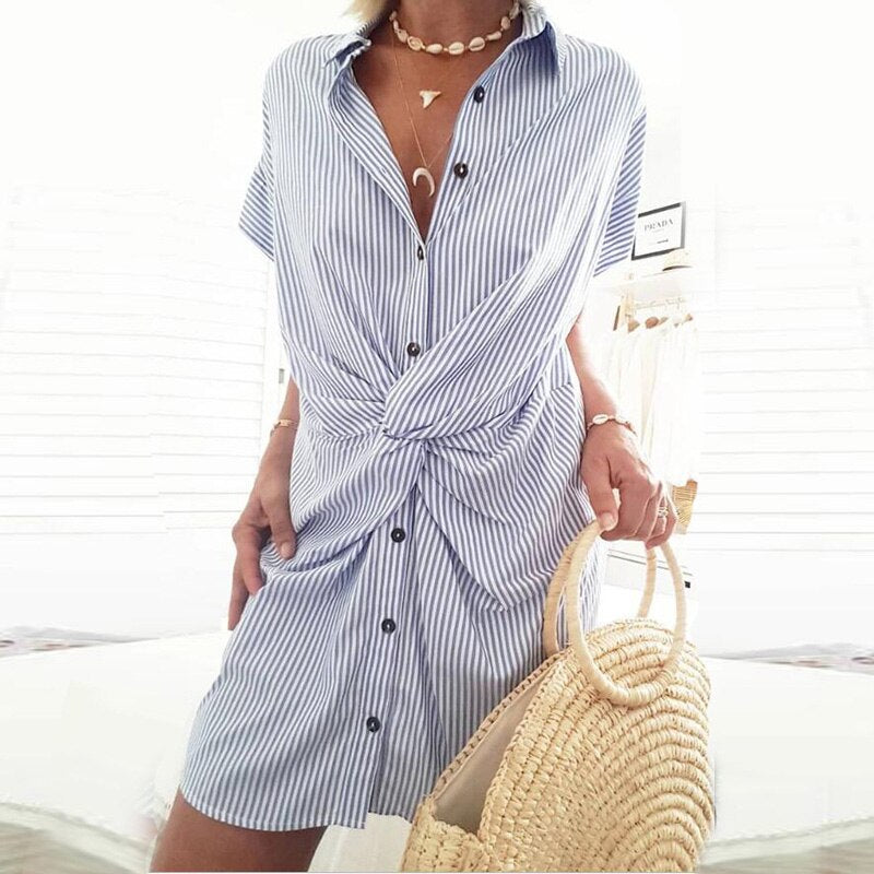 Summer Dress 2020 Cross Button Shirt Dress Turn-down Collar Mini Casual Striped Dress Woman Short Sleeve Sundress New Arrival